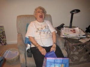 Mom cracking up because we gave her a gift of gift bags, because she complained so often that I threw her bag collection away when I was helping her move.